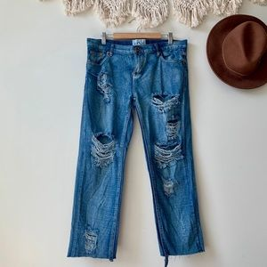 One Teaspoon Distressed Cropped Boyfriend Jeans
